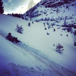 Sliding down the mountain