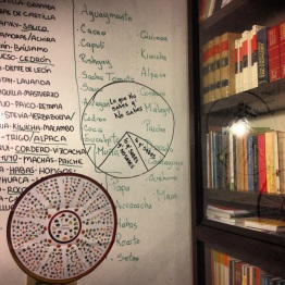 Gastronomy library and drawing board